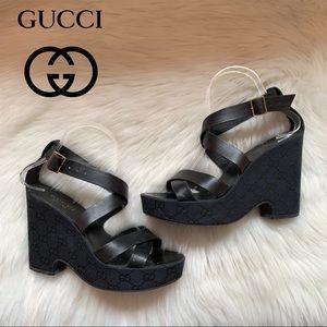Authentic GUCCI GG Monogram Logo Platform Sandals
